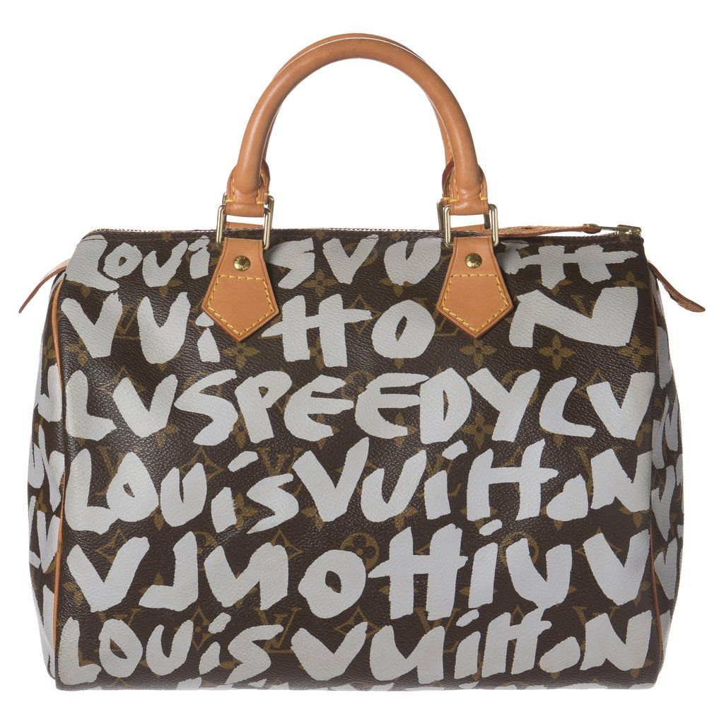 b9b19dc7e1c Rare Louis Vuitton Stephen Spouse Graffiti Brown and White Speedy 30 Bag.  Collector s Item! Louis Vuitton Monogram Graffiti Speedy 30 in Brown and  White.