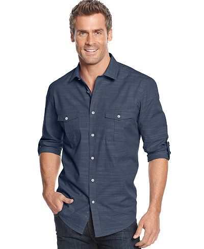 Alfani Men's Big and Tall Long-Sleeve Warren Shirt | Big & tall ...