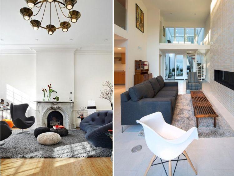 meubles design vintage en gris foncé et tapis shaggy gris clair