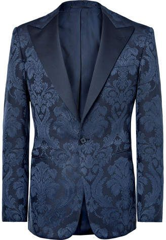 baa40b7a Ralph Lauren Purple Label Navy Gregory Slim-Fit Cotton And Silk-Blend  Jacquard Tuxedo Jacket