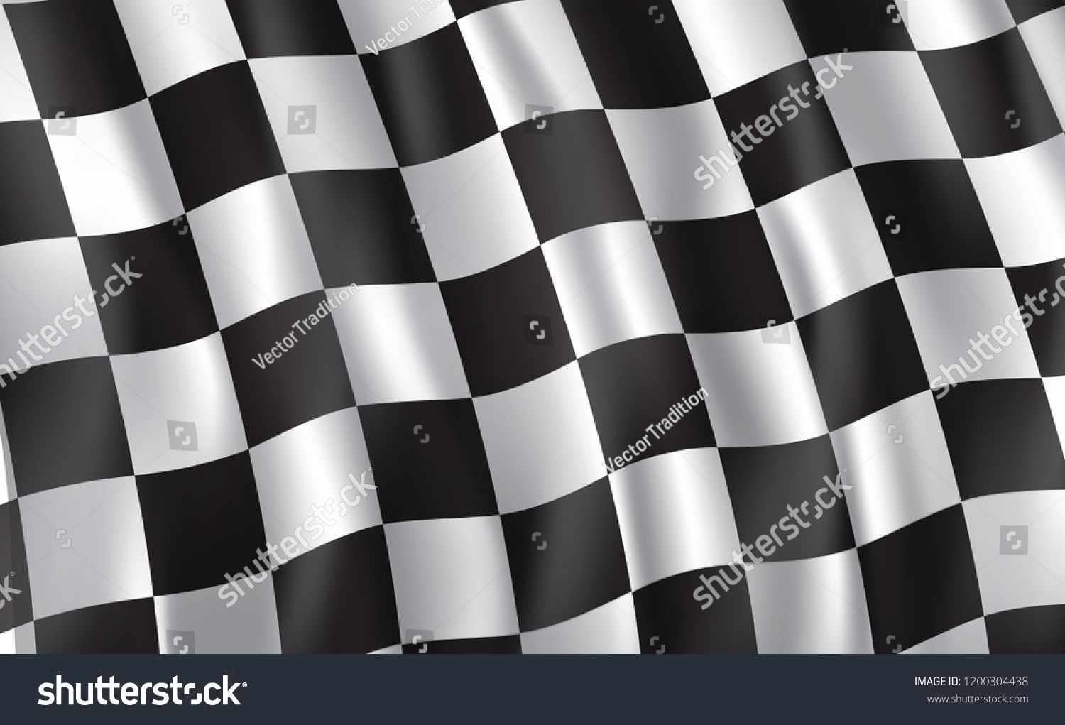 Car race or motorsport rally flag. Vector checkered 3D