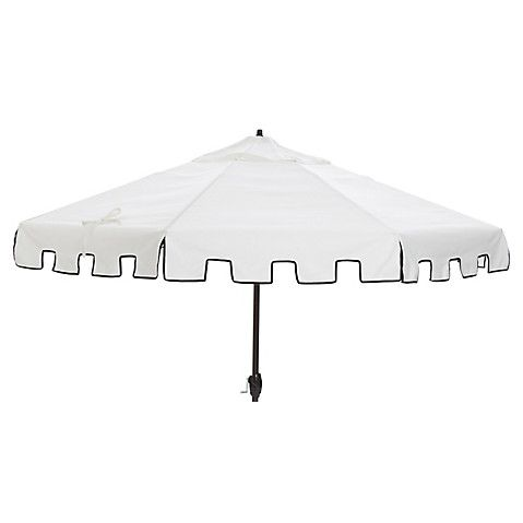 Poppy Greek Key Patio Umbrella, White