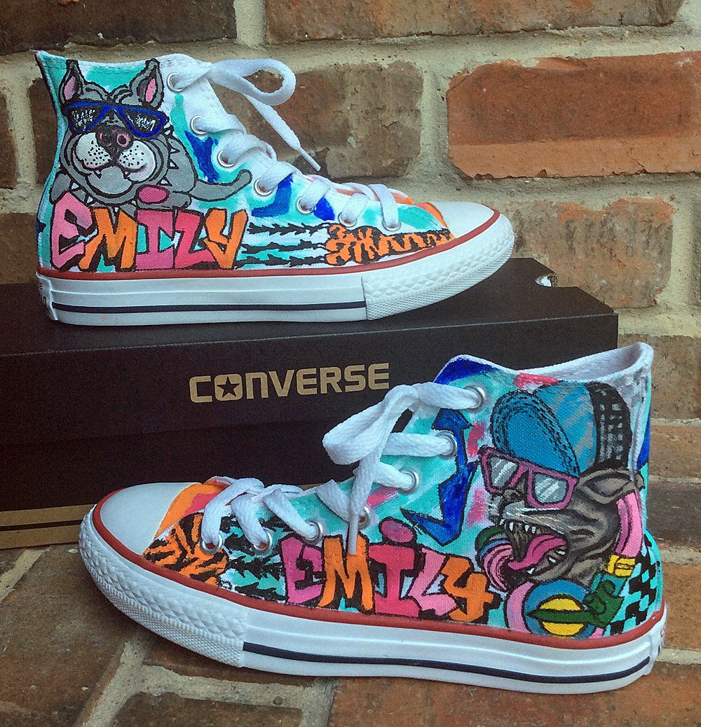 Custom Converse, Graffiti Art Painted Sneakers, Pi… | Custom