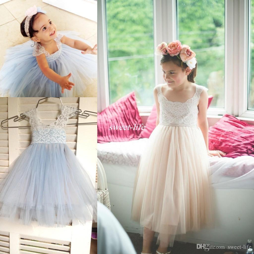 Lovely Vintage Lace Flower Girl Dresses Tea Length Tulle Cap Sleeves Jewel 2016 Cheap Blush Light