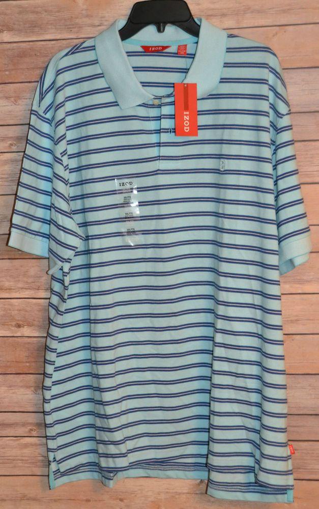 Mens Izod Polo Golf Shirt Light Blue Oxford Stripe 2xl Short Sleeve 2 On