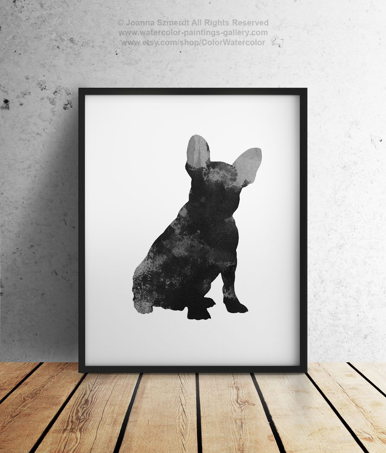 Black french bulldog watercolor painting dog silhouette
