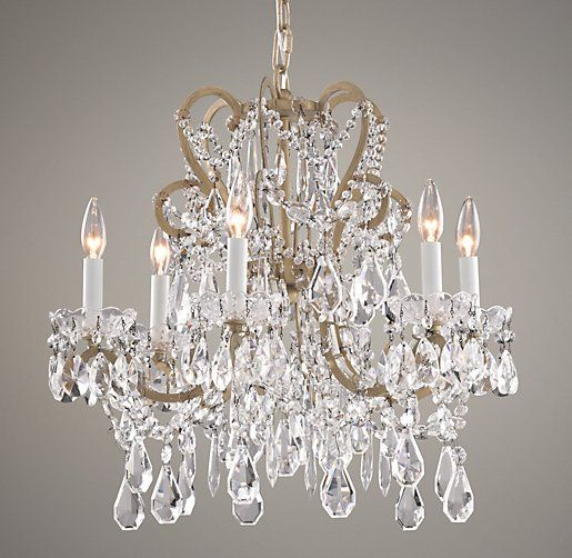 Manor court crystal 6 arm chandelier ceiling restoration hardware baby child light fixtures pinterest chandeliers arms and rh baby