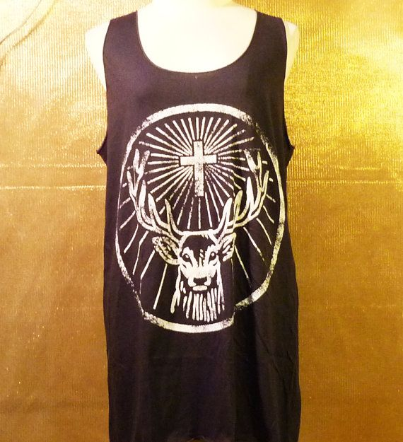 Tank Top Unisex Men Women Tank Jagermeister Cross Deer Alcohol Cocktail Drink Shirt TShirt Singlet screen - Size S M L