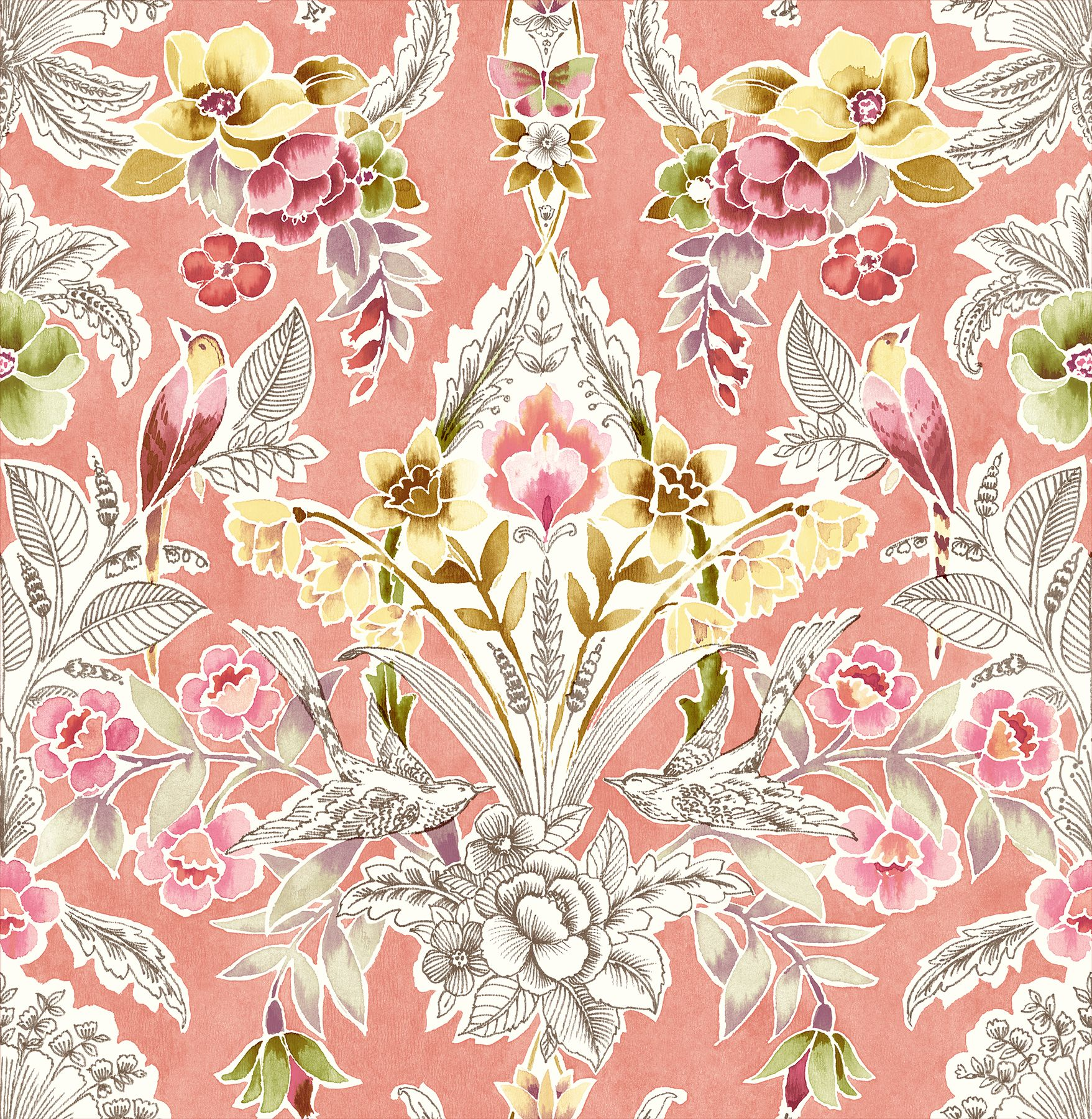 Vera Pink Floral Damask Wallpaper Brewster wallpaper