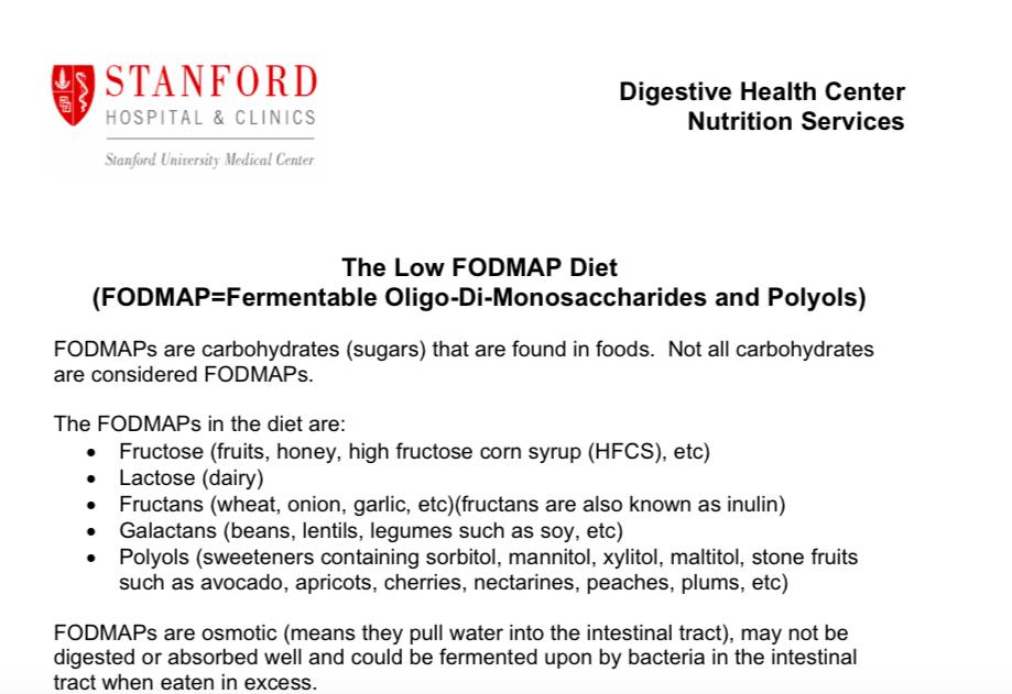 fodmap diet stanford pdf