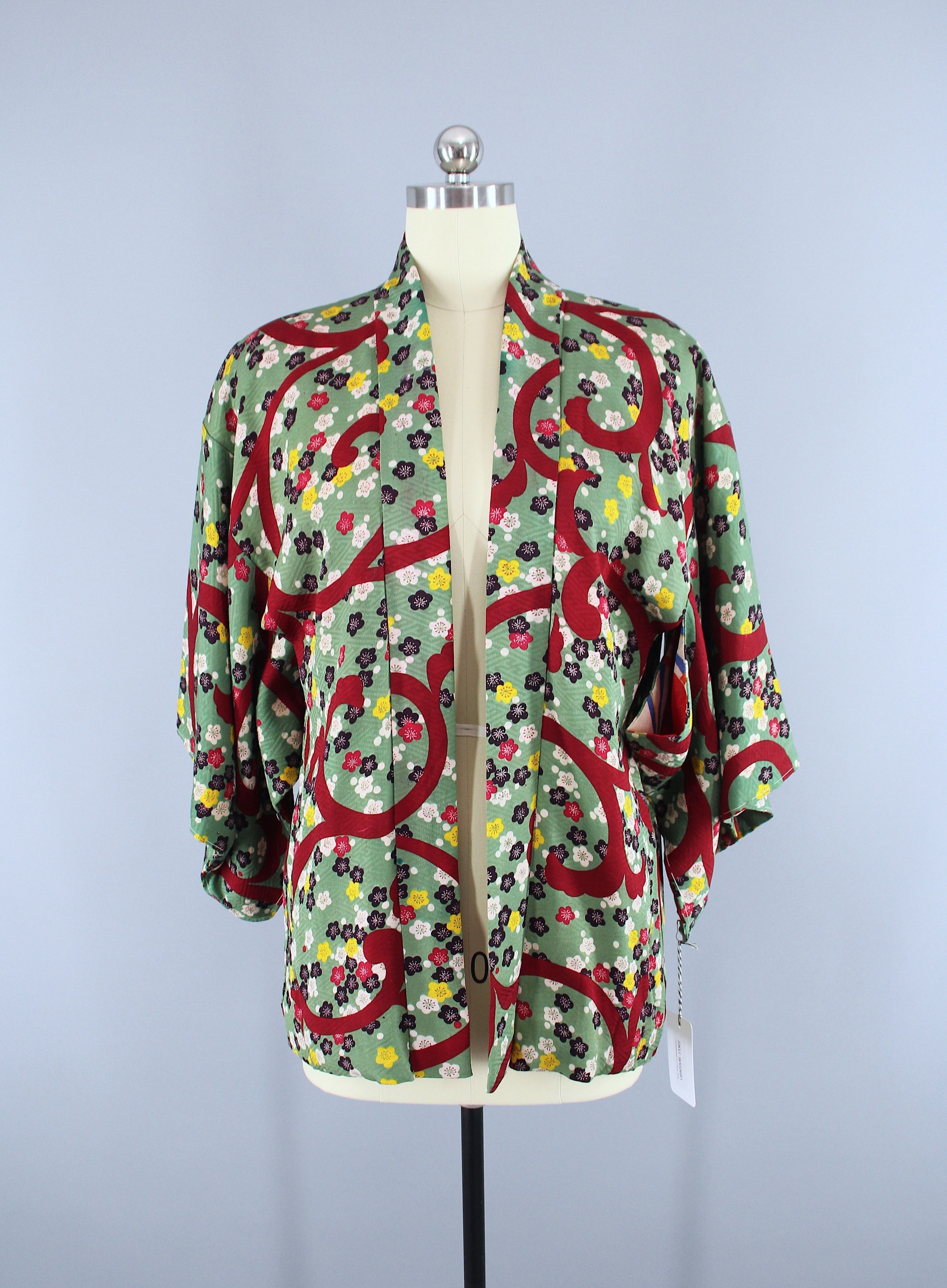 1940s Vintage Silk Haori Kimono Jacket Cardigan / Green & Red ...