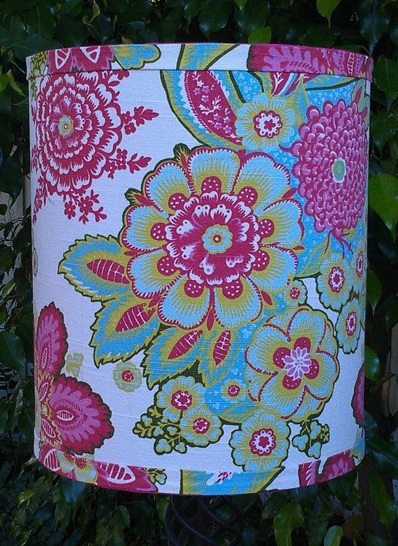 Lamp Shade Drum Pink Blue Green Flowers Annie By Verolampshades