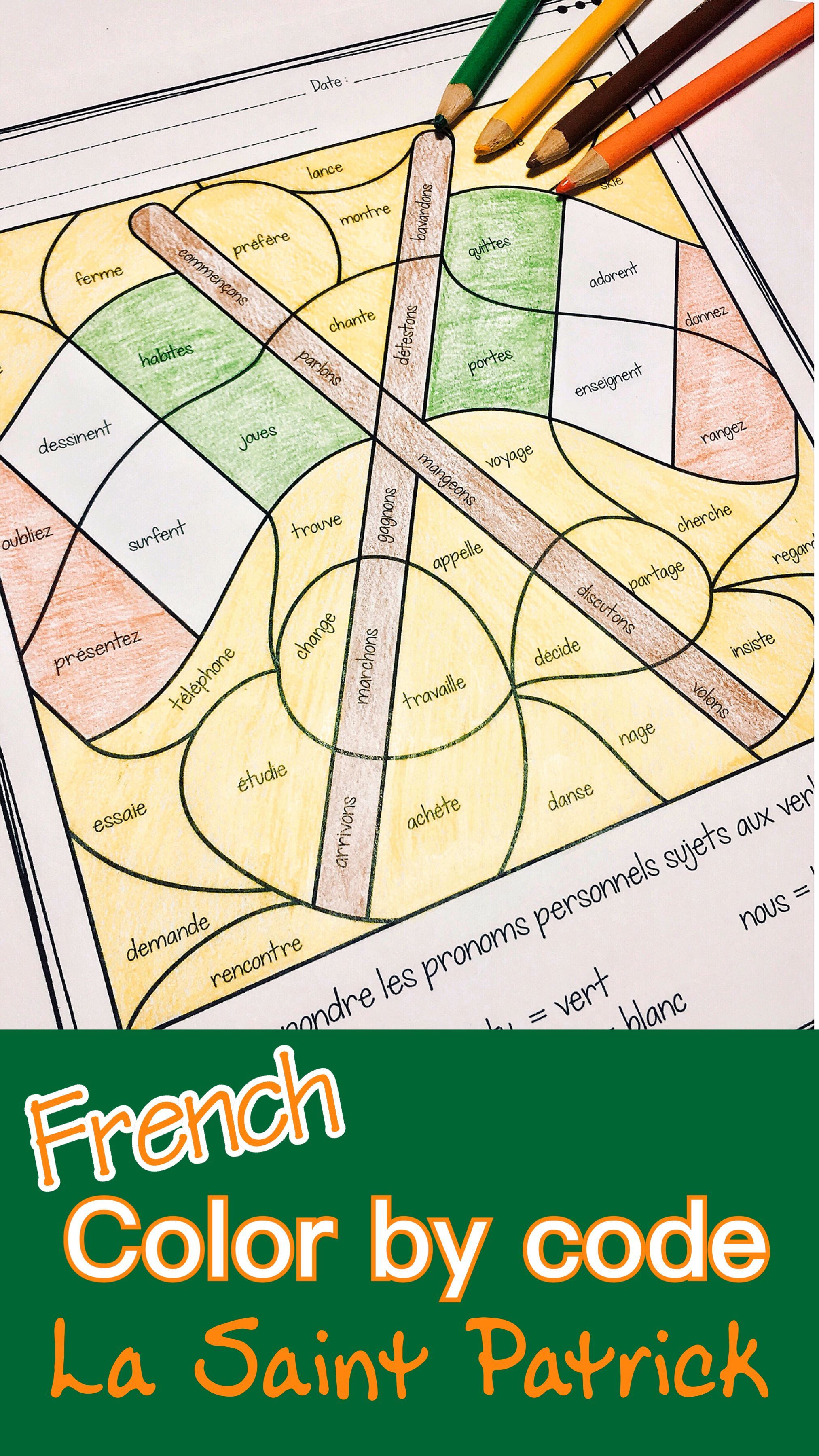 French St Patick S Day Color By Code Coloriages De St