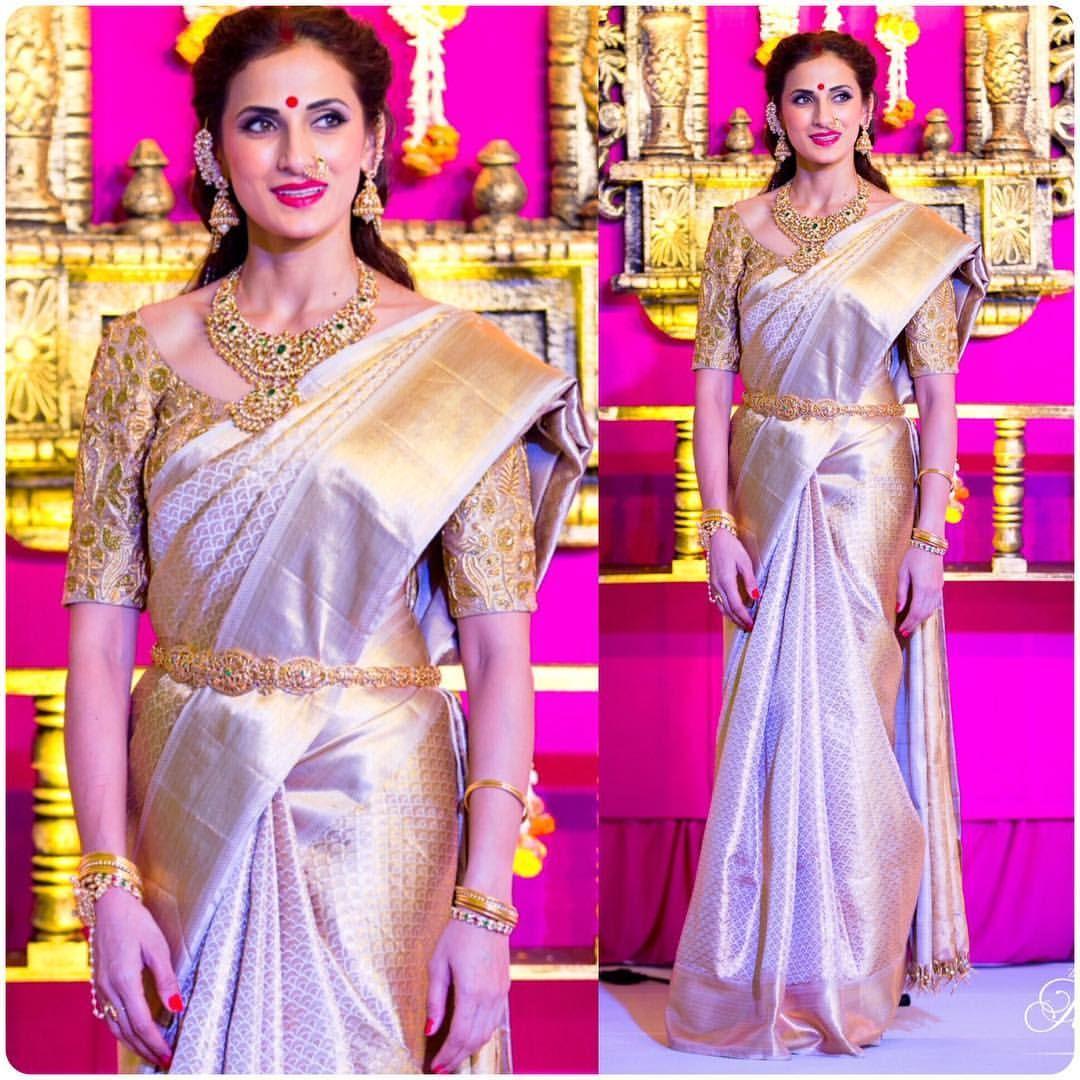 Sari with a gold belt | Sari | Pinterest