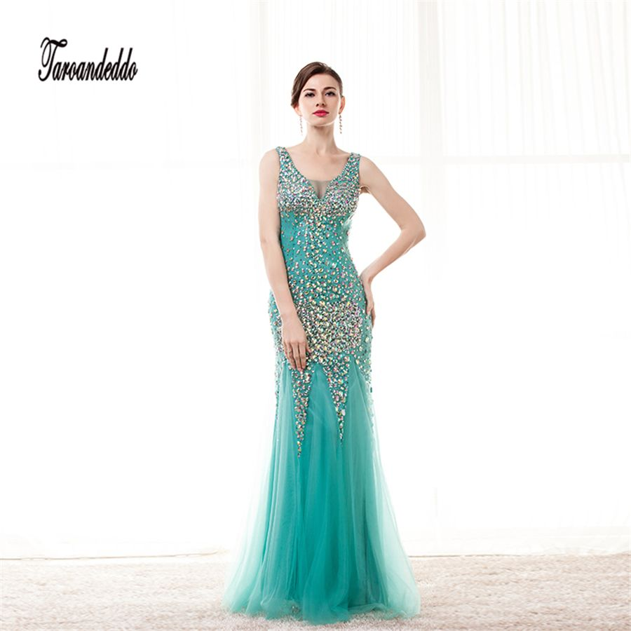 Vneck colorful ab stones sheath blue crystals long prom dresses