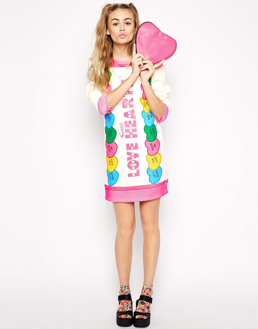 ichiban sweat dress with love heart candy print candy pop