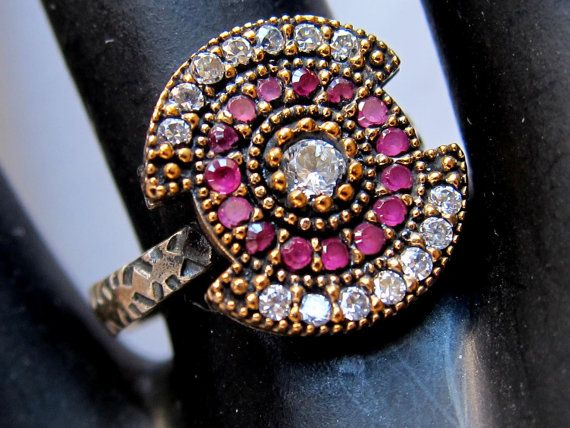 Sterling silver  ruby with clear zircons antique inspired ring. $29.90