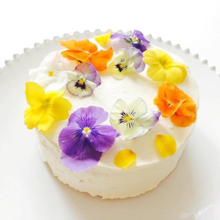 edible flower cake decoration images