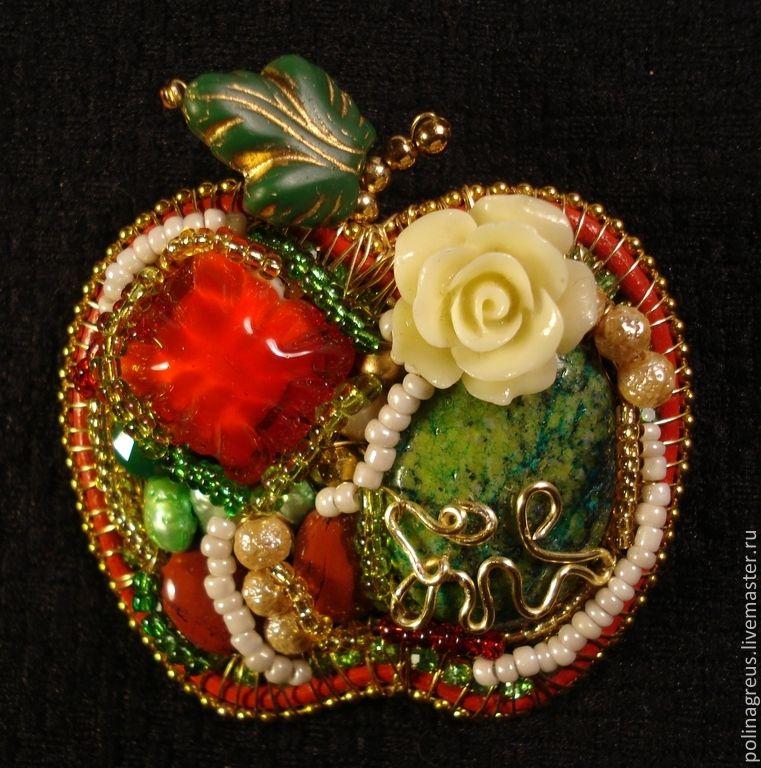 Купить Брошь Райское яблочко - ярко-красный, брошь, брошь ...