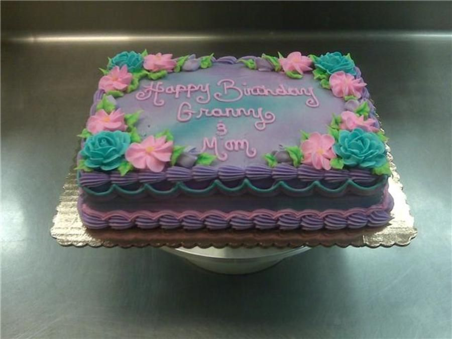 Purple Air Brush Flower Sheet Cake on Cake Central cake decor