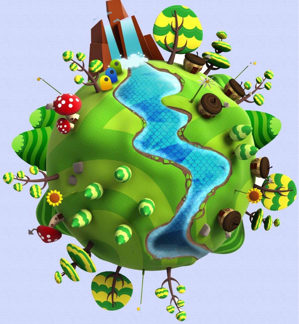 3 La Tierra Con Arboles Y Una Cascada Imagenes Del Medio Ambiente Dia Del Medio Ambiente Elementos Del Medio Ambiente
