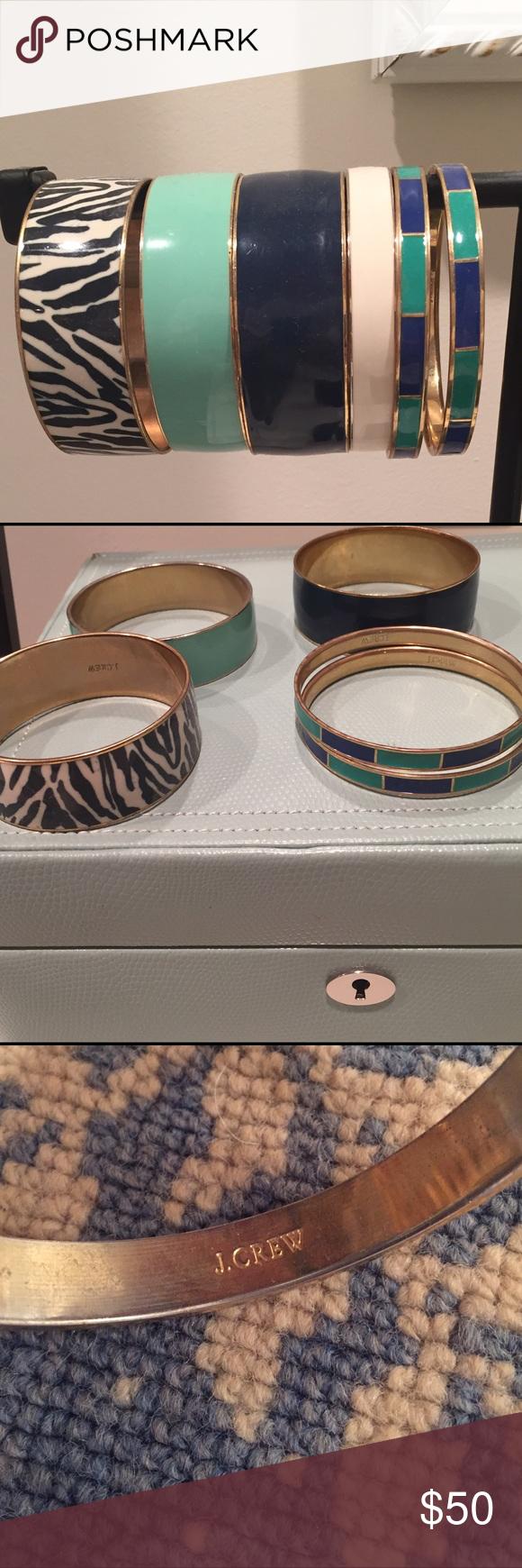Set of Jcrew Enamel Bangle Bracelets w/ Gold Trim! Light wear! Classic Jcrew stackable bracelets all with inside gold tone & Jcrew marking. Diameter is 2.5in. Open to selling bracelets separately for lower price if interested LMK! J. Crew Jewelry Bracelets