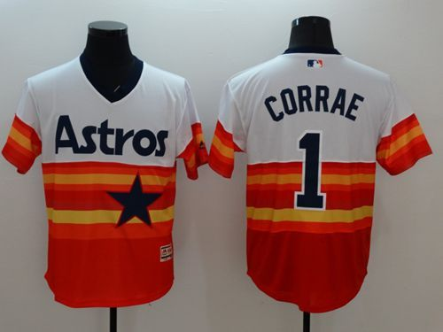 astros 1 carlos correa white orange flexbase authentic collection cooperstown stitched mlb jersey