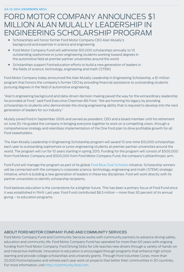 Ford Motor Company announces $1 Million Alan Mulally Leadership in Engineering Scholarship Program