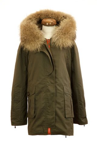 Raccoon Fur Collar Parka Jacket - Green – Poppy London  7e97ef48851b