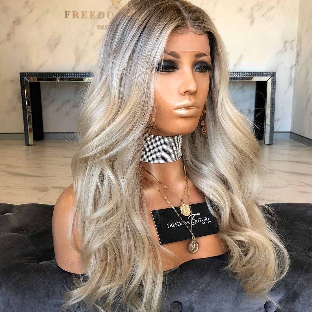 Ombre Blonde Wavy Human Hair Wig Wig Hairstyles Golden Blonde Hair Color Blonde Balayage Highlights