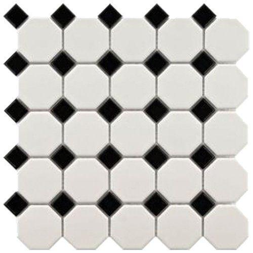 Usct Ufcc101 12m Octagon 12 By 12 Mosaic Tile Snow White Black 11 Pack By Usct Http Www Amazon Com Dp B00dt4q Mosaic Flooring Porcelain Mosaic Merola Tile