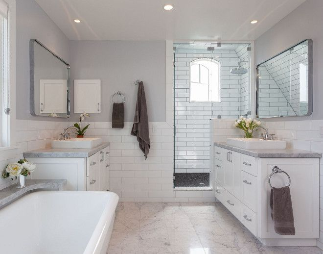 This Bathroom Features Half Wall Subway Tile With White Grout The