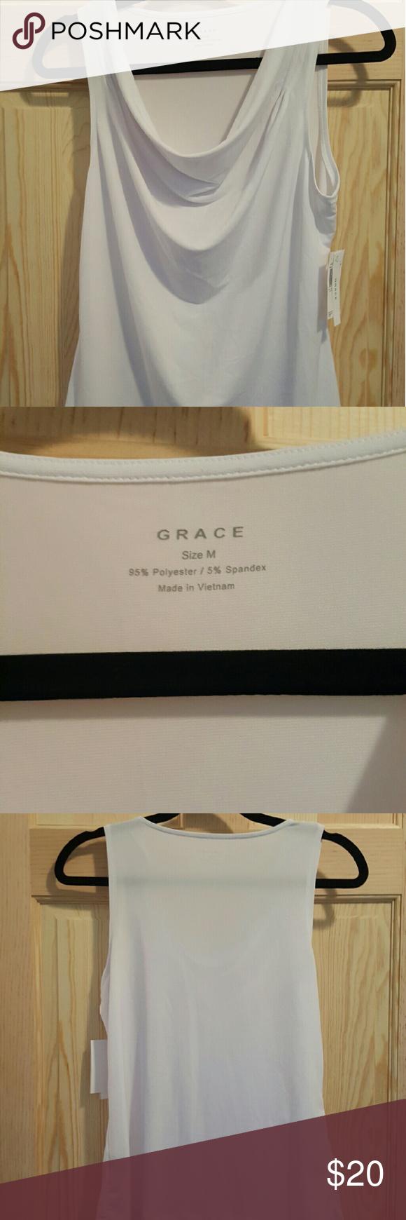 White drape neck shirt Brand new with tags white drape neck shirt Grace Tops Blouses