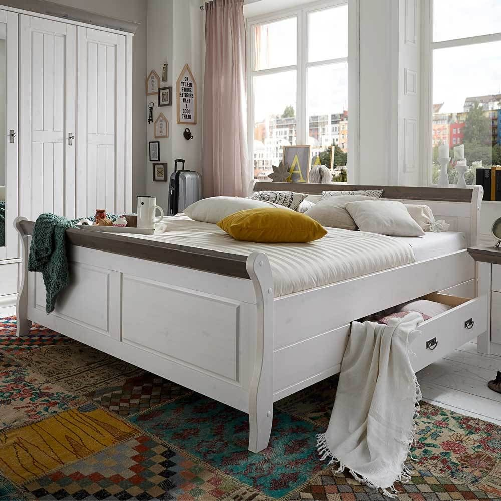 Holzbett in Weiß Grau Landhaus Jetzt bestellen unter: https://moebel ...
