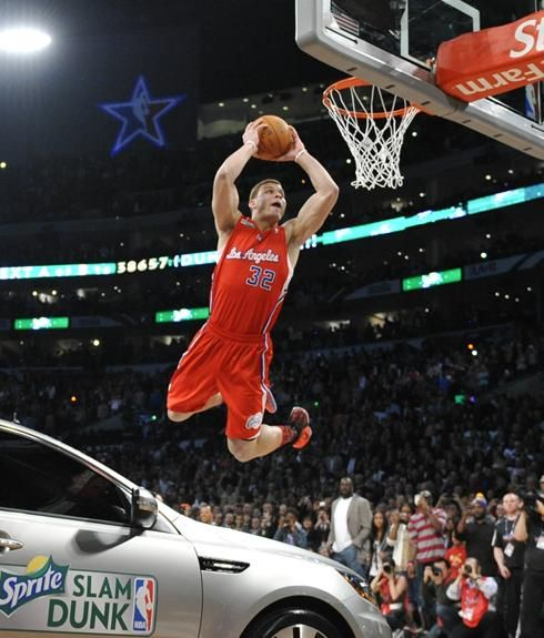 Blake Griffin Of The Los Angeles Clippers Dunks Over A Car At Staples Center