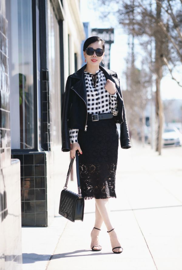 HallieDaily:Black and Whie Style-Plaid Shirt-Leather Jacket-Lace Skirt