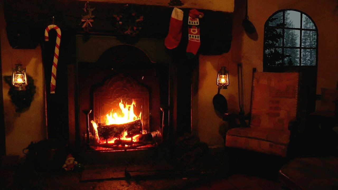 Christmas Scene: Burning Yule Log with Crackling Fire and Snow Storm ...