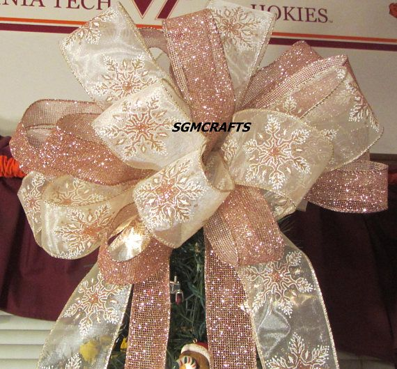 Blush Pink Snowflake Wired Ribbon Christmas Tree Topper Bow Etsy Christmas Tree Topper Bow Tree Topper Bow Christmas Tree Toppers