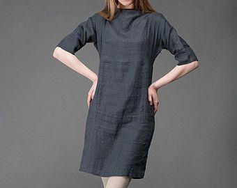 Gris Vestido de lino, lino puro, mini vestido de Lino gris oscuro, vestidos de verano de mujer, ropa de lino, ropa de lino, moda de verano, desgaste lino
