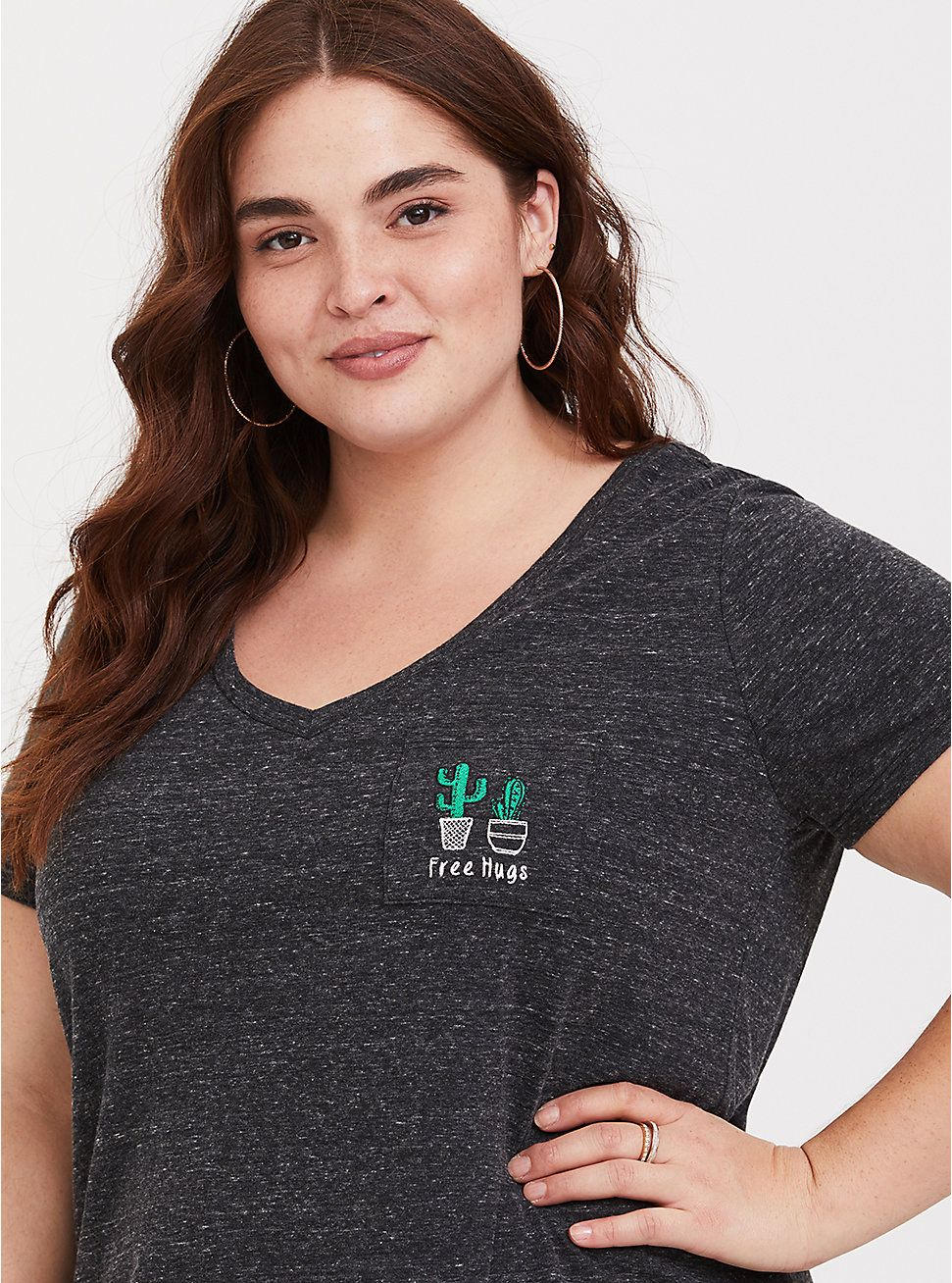 d8177d06262 Plus Size Cactus Embroidered Pocket Tee