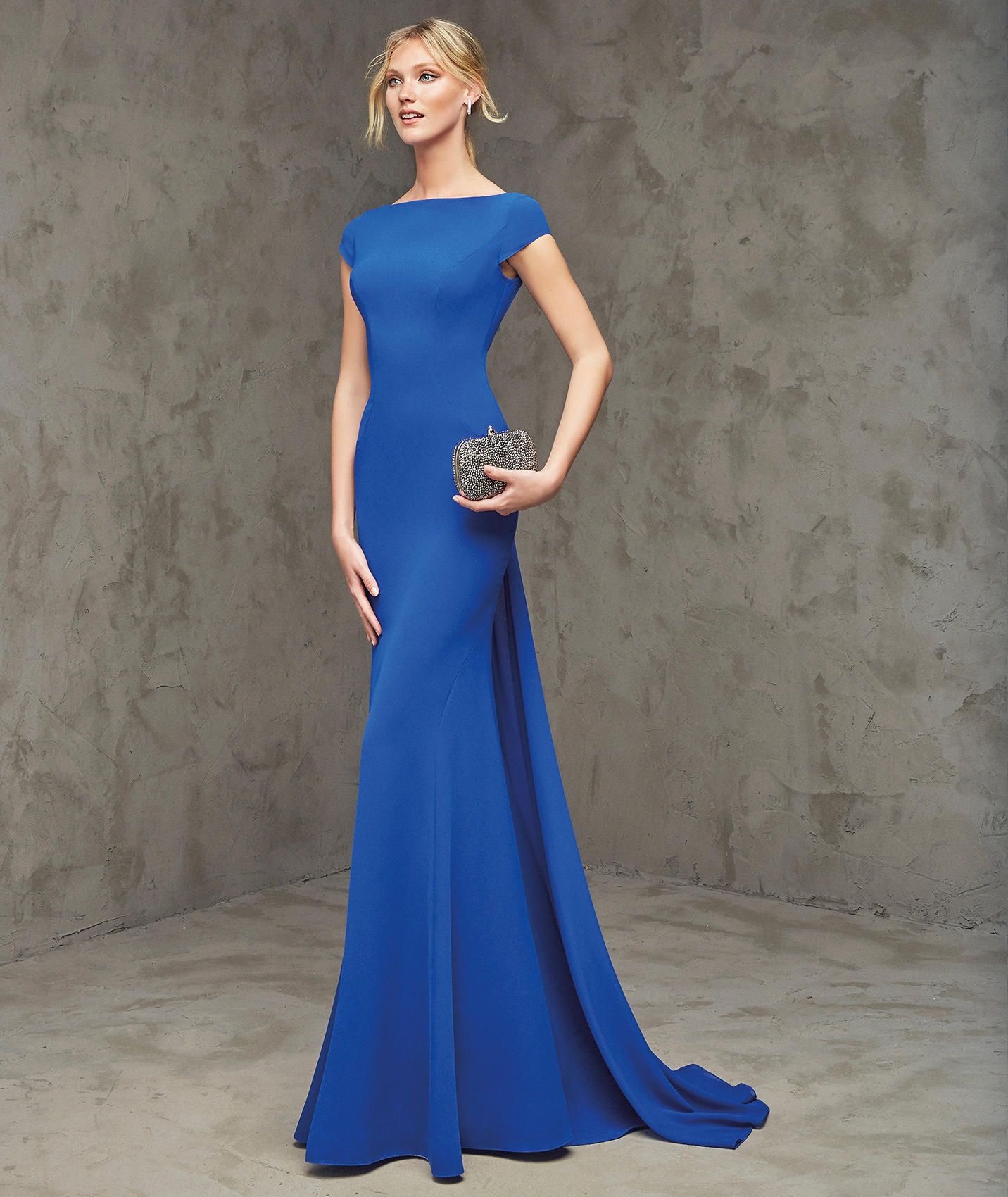 Graceful O Neck Brush Train Royal Blue Chiffon Sheath Column Evening ...