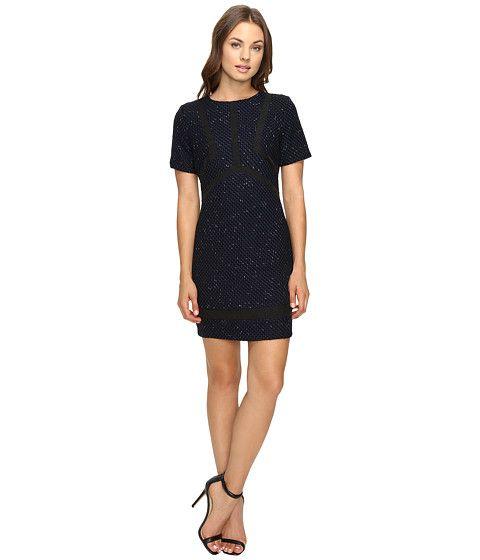 Adelyn Rae Tweed Dress with Sheer Panels