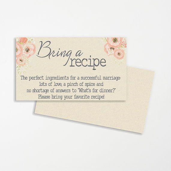 Shabby Chic Printable Wedding Recipe Cards By Amavitadesigns
