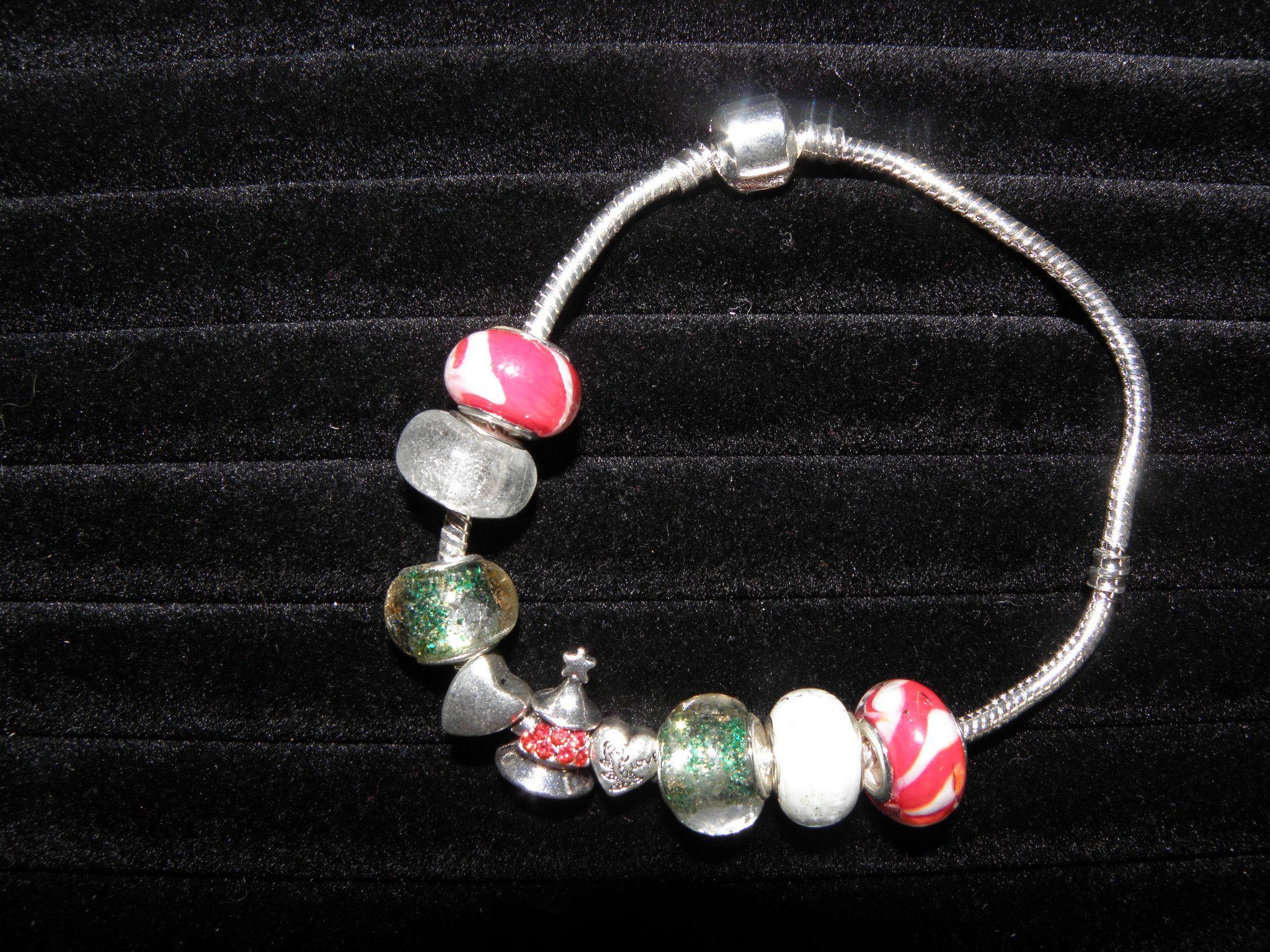 "Christmas Tree Silver Pandora Style Bracelet with 9 Beads Size 9"" BAB 116"