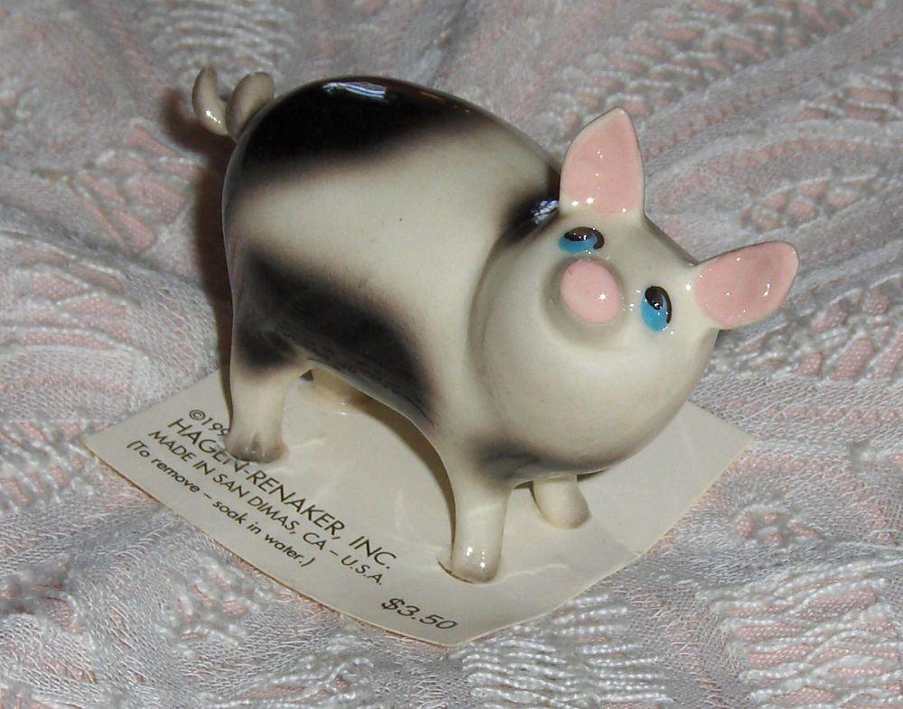 Vtg Hagen Renaker Inc Pig Figurine Miniature Black White Curly Que Tail Hog Pig Figurines Figurines Miniatures