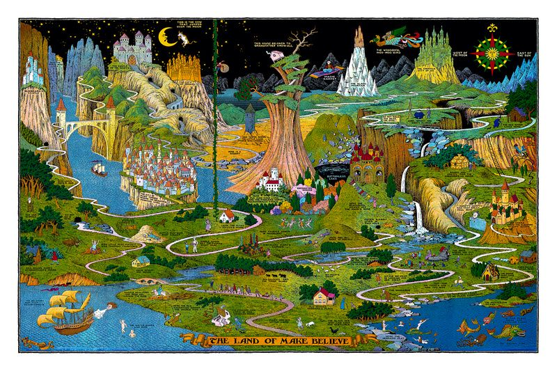 The Land Of Make Believe Map By Jaro Hess This Is Where I Grew Up Well Up On My Childhoo Jaro Make Believe Illustrated Map