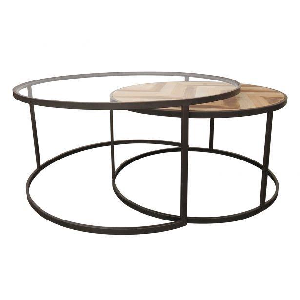 Lot De 2 Tables Basses Rondes Gigogne En Metal Et Bois Motifs Ethniques 90x90xh42cm Seville Marmol