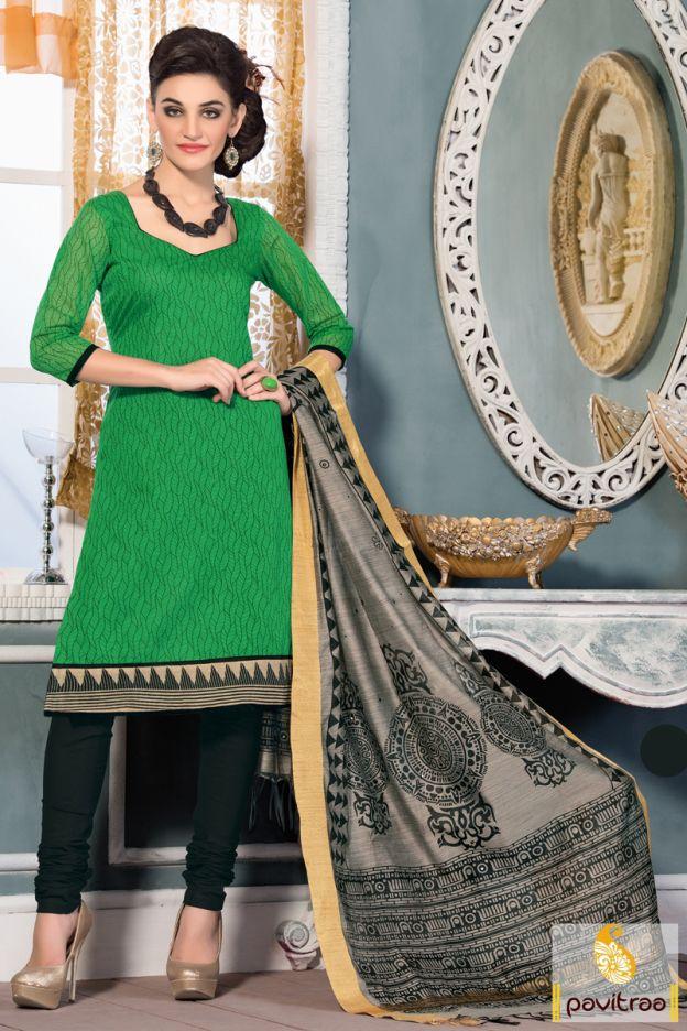Latest green color art chanderi silk casual salwar suit online shopping at lowest price in India. Purchase online this art silk printed salwar kameez with discount deals. #salwarkameez, #salwarsuit, #chanderisalwarkameez, #casualsalwarlameez, #printedsalwarkameez,#churidarsalwarkameez, #discountoffer, #pavitraafashion, #utsavfashion, #straightsalwarsuit, #silksalwarsuit,  http://www.pavitraa.in/store/casual-dress/ callus:+91-7698234040