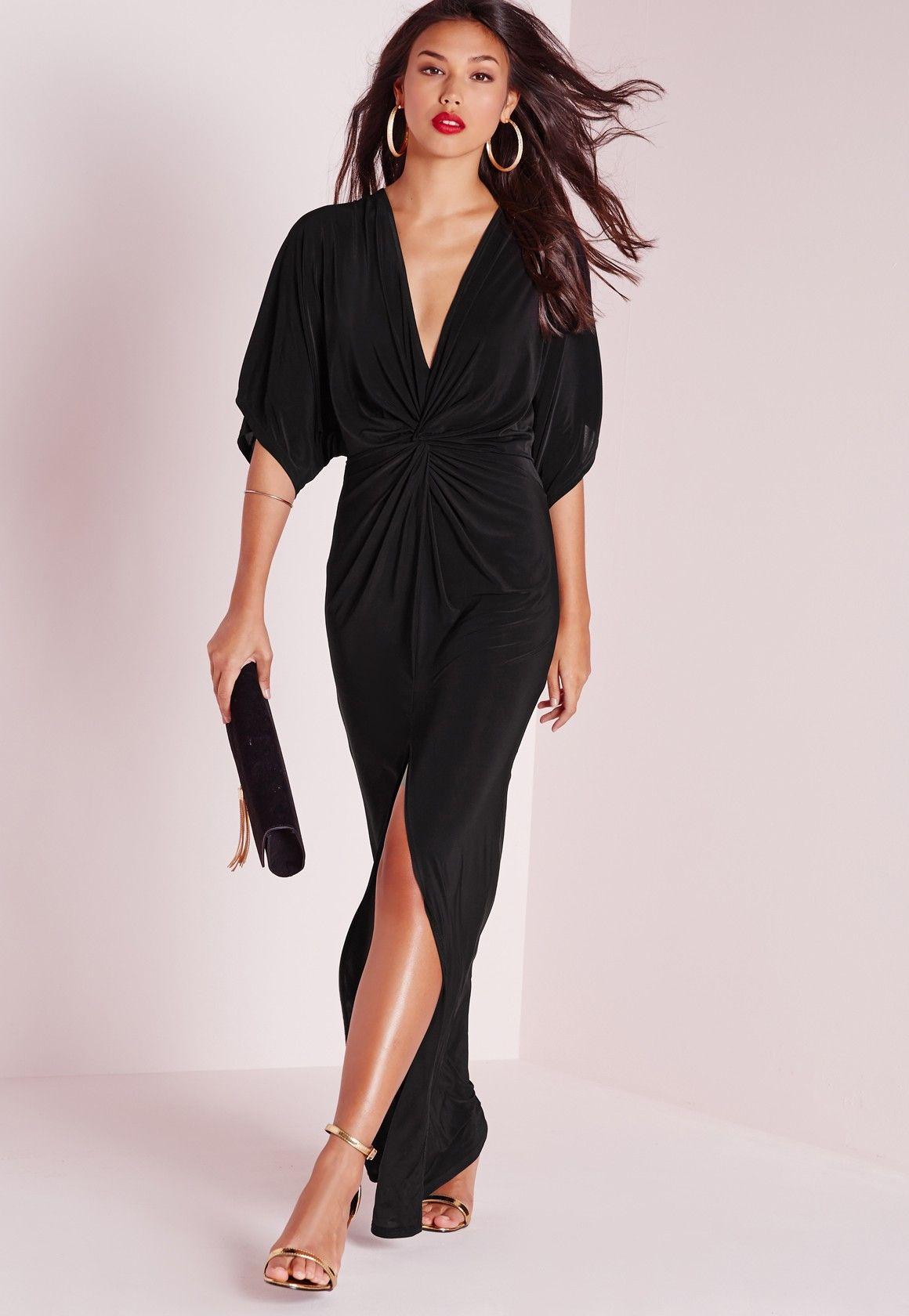 Fluide Noire Longue KimonoDresses Missguided Manches Robe dBoCxer