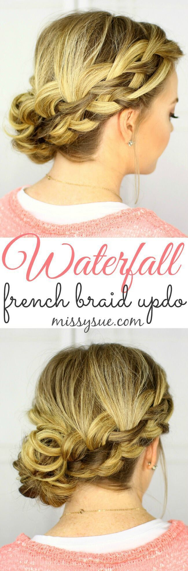 Low side updo hairstyles waterfall french braid updo wonderful